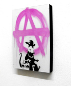20cm X 30cm Block Mounted Print Banksy Anarchy Rat Graffiti