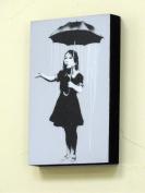 15cm X 10cm (postcard size) Block Mounted Print Banksy New Orleans - Umbrella Girl.Graffiti