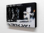20cm X 30cm Block Mounted Print Banksy Teddy Bear Bomber