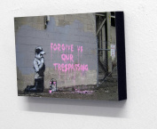 15cm X 10cm (postcard size) Block Mounted Print Banksy Forgive Us Our Trespassing Graffiti