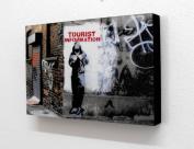 Banksy Tourist Information Graffiti 15cm X 10cm Block Mounted Print