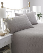 Natural Reversible Embossed Quilted Bedspread, Leaf, Includes 2 Pillowshams, 240cm x 260cm, Double/King