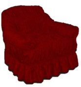 RED WINE Jacquard Arm Chair Cover - Universal Elastic Fitting. a throw) HC