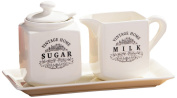 Premier Housewares Vintage Home Milk and Sugar Set - Cream