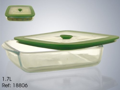 Pyrex 1.7 Litre Borosilicate Glass Shallow Glass Square Dish with Plastic Lid