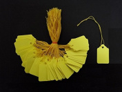 Ivy Yellow Strung Tags 43mm x 27mm (Yellow String) Jewellery Price Tags Tickets Tie On Labels