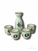 Ceramic Sake Set (1 Bottle & 4 Cups) with Chinese Calligraphy Character-Dragon