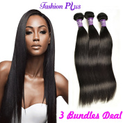 Brazilian Silky Straight Hair Unprocessed Human Virgin Hair Remy Hair Extension Weave Weft #1B-Off Black 100g/bundle 3 Bundles
