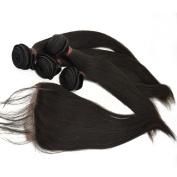 LaNova Beauty Human Hair Extension,Sliky Straight Hair Extention 4pcs 30cm and 1pc Lace Closure (4*4) 25cm , Natural Colour,5pcs/lot Cheap Virgin Hair
