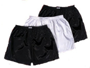 Black White Black Thai Silk Boxer Shorts Underwear Men Sleepwear 3 Pack
