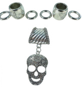 Day of the Dead / Dia de los Muertos sugar skull gothic rockabilly psychobilly DIY scarf jewellery pendant slide bail rings set. Alloy charm tube CCB beads accessory findings for scarf jewellery necklace making.
