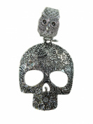 Day of the Dead / Dia de los Muertos sugar skull gothic rockabilly psychobilly scarf pendant bail slide set. Jewellery finding accessories for DIY jewellery scarf necklace.