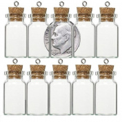 GLASS BOTTLE VIAL CORK size choice AMULET CHARM WICCA POTION MEMORY STORAGE 10pk (21x11mm