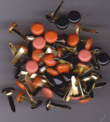 Scrapbooking Round Brads Orange/black - Large