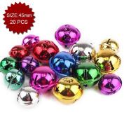 Aspire Multi-colour Large Snowflake Decorative Bells with Stars, 45mm, 20pcs