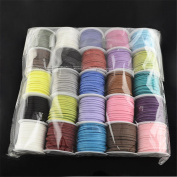 25 Rolls Mixed Colour Faux Suede Cord for Jewellery Making 5m/roll