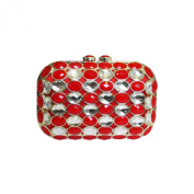 Anna Cecere Italian Designed Gioello Jewel Clutch Evening Cocktail Bag - Red