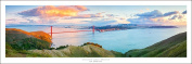 San Francisco Golden Gate Bridge At Sunset Art Print Panoramic (Panorama) Poster