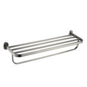 Angle Simple GB8302 Bathroom Shelf Towel Rack with Towel Bar, Brushed Steel