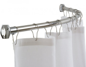 Curved Shower Curtain Rod by Streamline® - Rust-Proof, Mount Kit Included, 140cm - 180cm Adjustable