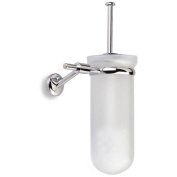 Pegaso Wall Mounted Frosted Glass Toilet Brush Holder in Chrome