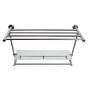 KES BGS2201-2 SUS304 Stainless Steel Lavatory Bathroom Towel Rack and Tempered Glass Shelf 7MM-Thick Wall Mount with Towel Bar and Rail, Brushed