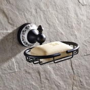 Elegant Oil Rubbed Bronze Finish Caremic Carved Pattern Soap Dish Holder Wall Mount Bathroom Soap Storage Basket Made of Solid Brass