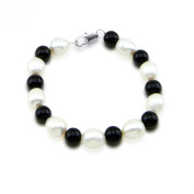 """Classic 9-10mm White Freshwater Cultured Pearl & Black Onxy Bracelet,7.5"""""""