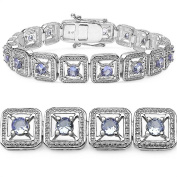 4.30 Carat Genuine Tanzanite Sterling Silver Bracelet