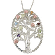 Black Hills Gold Silver Family Birthstone Tree Necklace