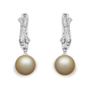 9 mm Golden South Sea Cultured Pearl and 0.15 carat total weight diamond accent Earring in 14KT White Gold