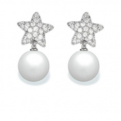 9 mm Akoya Cultured Pearl and 0.52 carat total weight diamond accent Earring in 14KT White Gold