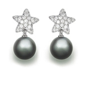 9 mm Tahitian Cultured Pearl and 0.52 carat total weight diamond accent Earring in 14KT White Gold
