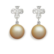 9 mm South Sea Cultured Pearl and 0.256 carat total weight diamond accent Earring in 14KT White Gold