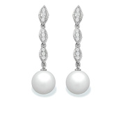 9 mm Freshwater Cultured Pearl and 0.19 carat total weight diamond accent Earring in 14KT White Gold