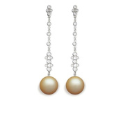 9 mm South Sea Cultured Pearl and 0.264 carat total weight diamond accent Earring in 14KT White Gold