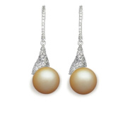 9 mm South Sea Cultured Pearl and 1.016 carat total weight diamond accent Earring in 14KT White Gold