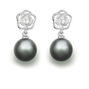 9 mm Tahitian Cultured Pearl and 0.06 carat total weight diamond accent Earring in 14KT White Gold