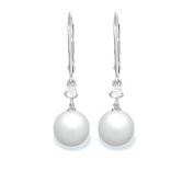 9 mm Freshwater Cultured Pearl and 0.2 carat total weight diamond accent Earring in 14KT White Gold