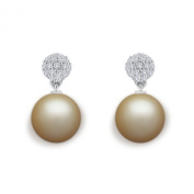 9 mm Golden South Sea Cultured Pearl and 0.25 carat total weight diamond accent Earring in 14KT White Gold