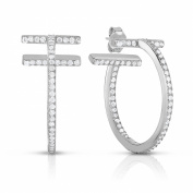 Sterling Silver Thick Double Bar Hoop T Earrings 1 Inch (26 mm) With Cubic Zirconia Rhodium Plated Finish