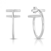 Sterling Silver Thick Double Bar Hoop T Earrings 1 Inch (26 mm) Rhodium Plated Finish