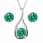 Carlo Bianca Green 925 Sterling Silver Pendant Earrings Set Made With. Zirconia