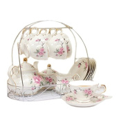 Ufingo-European Style Bone China,Golden camellia Printed Ceramic Porcelain Tea Cup Set With Lid And Saucer