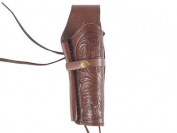 Hand-Tooled Leather Holster, 6, Chocolate, Right Hand