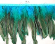 Iridescent Hackle Feather Trim (ass't Colours) By Shine Trim - Teal