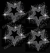 Set of 4 Stars Clear Rhinestone Iron on Hotfix Transfer bling DIY