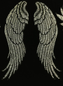 Large Angel wing Rhinestone Transfer Iron On Hot Fix Motif Bling Applique - DIY