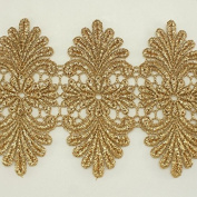 11cm wide Gold Metallic Rayon Embroidery Lace Trim - Bridal wedding Lace Trim wedding fabric Millinery accent motif scrapbooking crafts lace for baby headband hair accessories dress bridal accessories by Annielov trim #347
