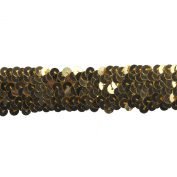Sequin Trim 2.5cm Wide Polyester Stretchable Sequin Trim Rolls for Arts and Crafts, 10-Yard, Gold